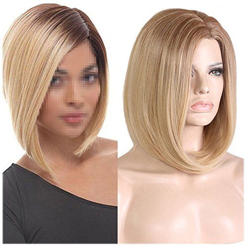 (BERON 15'' Short Straight Dark Roots Ombre Blonde Bob Wigs Side Part Wig with No Bangs Wig Cap Included (Brown Ombre)