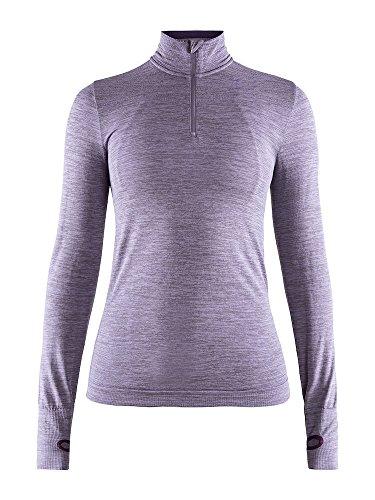 Craft Sportswear Womens Fuseknit Comfort Zip Roundneck Long Sleeve Base Layer Wicking Shirt, Aura Melange, Large