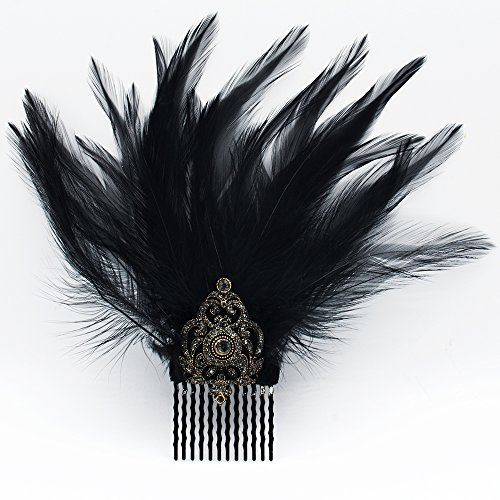 Hair Comb Slides, Fascinator, Hair Pin, Feather, Black Hair Accessories, Costume, Party Outfit, Cocktail Dress, Evening Dresses, Hair Jewelrry by Elipeacock