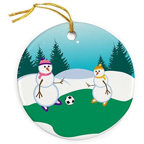 ChalkTalkSPORTS Soccer Porcelain Ornament | Kickoff Snowman Mom Christmas Ornament ()