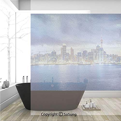 3D Decorative Privacy Window Films,Auckland The Biggest City in New Zealand Waterfront Travel Destination,No-Glue Self Static Cling Glass Film for Home Bedroom Bathroom Kitchen Office 36x36 Inch