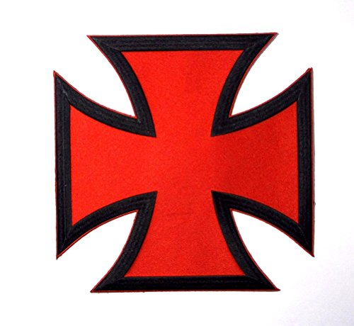 Choppers Cross Red Black Large Back Vest Embroidered Patch Iron Sew PWPM5067 Iron Cross Pin