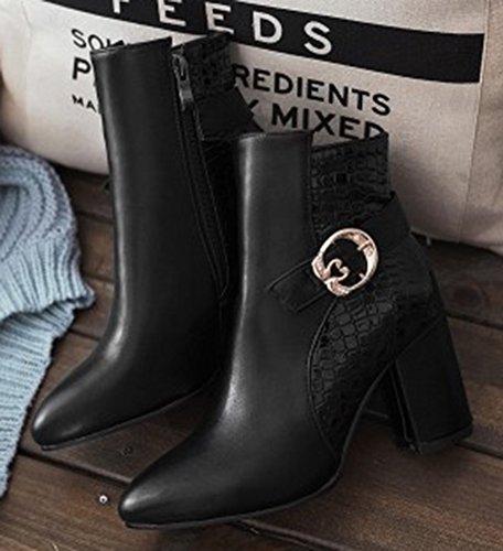 Toe Block Booties Aisun Round Black Side Women's Trendy Mid Zipper Heels TwHqZXHR