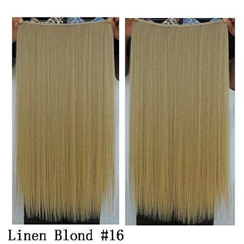 Halo Hair Extensions Women Flip in Synthetic Hair extension Hairpiece 80g (Linen Blonde #16) ()