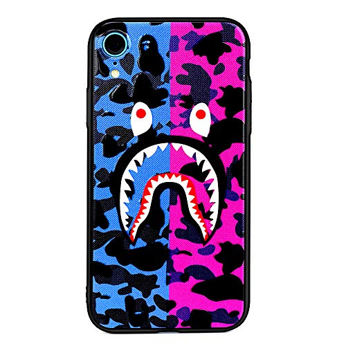 Kplvet iPhone Xr Case-Embossed Shiny Varnish Craft Top Hand Feel Hard Anti Drop Acrylic TPU Bumper Frame Cover for 6.1 iPhone-Xr,Street Fashion iPhone Designer Basic Protective Case(Purple Pink Shark) ()
