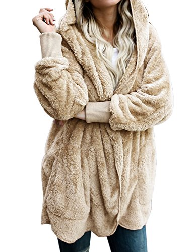 ACKKIA Women's Casual Draped Open Front Oversized Pockets Hooded Coat Cardigan Apricot Size XX-Large (US 20-22)