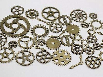(Calvas 50 Assorted Bronze Tone Steampunk Filigree Gears Charm Pendant Finding Cogs Disc )
