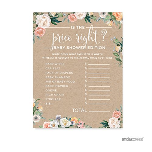 (Andaz Press Peach Kraft Brown Rustic Floral Garden Party Baby Shower Collection, Is the Price Right Game Cards, 20-Pack, Games Activities and)