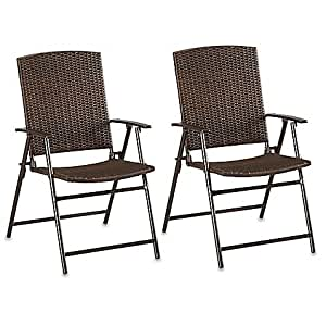 Amazon Com Barrington Wicker Bistro Folding Chairs In