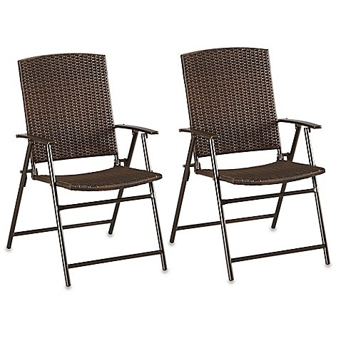 Astounding Amazon Com Barrington Wicker Bistro Folding Chairs In Brown Ibusinesslaw Wood Chair Design Ideas Ibusinesslaworg