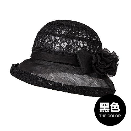 verano Sol seda sombrilla 5 De 57 sombrero Pescador Negro Mujer sombrero Cm Llztym gorra gorra Black sombrero regalo FxSq5Cw