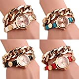 Doinshop Women Gold Dial PU Leather Chain Wrap Analog Quartz Wrist Watch Bracelet