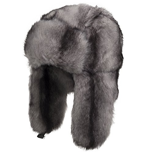 Ultrafino Explorer Ushanka Winter Trapper Faux Fur Pilot Hat With Ear Flaps Grey 7 1/4