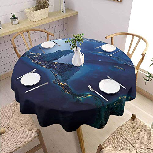 Halloween Restaurant Specials Las Vegas (VICWOWONE Polyester Round Tablecloth World Restaurant Decoration Countries of Central America Earth at Night Costa Rica Nicaragua Pacific Ocean,Round - 55 inch Blue Forest)