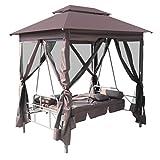 vidaXL Patio Outdoor Gazebo Swing Canopy Hammock Seat Sunbed Sofa Curtains Coffee Brown