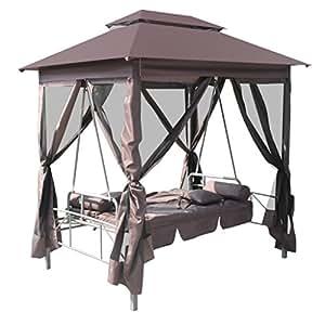 Daonanba Outdoor Gazebo Patio Waterproof Swing Chair Sunbed With Canopy Coffee