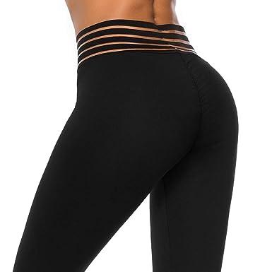 8d997270f THANTH Womens Yoga Pants High Waist Ruched Butt Lifting Tummy Control Workout  Capris Leggings Black S