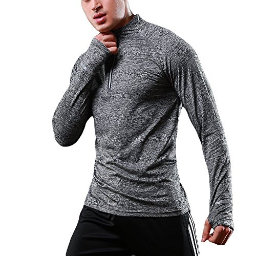 Mens Long Sleeve 1//4 Zip Running Top Quick Dry Lightweight Breathable Sport Shirt for Workout Jogging Warm-up Gym Fitness