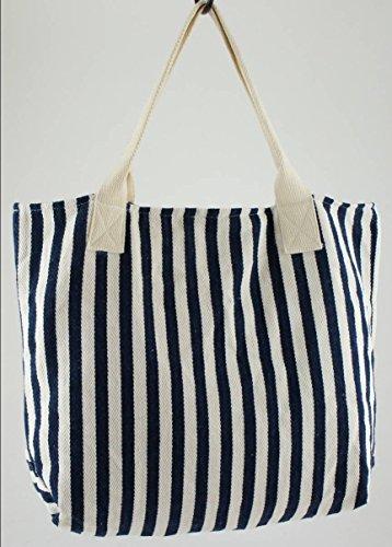 Sac en coton à rayures Bleu/blanc avec poignées interne 55cm x 45, 45cm x 45cm