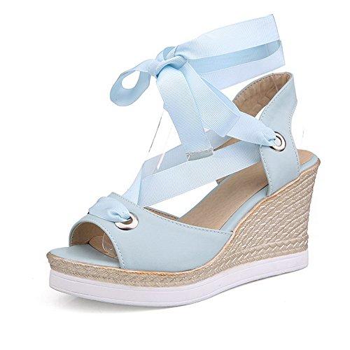 AgooLar Mujeres Plataforma Puntera Abierta Sólido Cordones Sandalia Azul