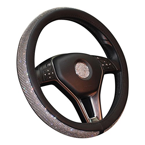 MLOVESIE Leather Steering Wheel Cover with Crystal Bling Bling Rhinestones for Girls,Lady Universal Fit 38cm (Black)
