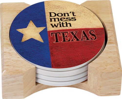 (CounterArt Don't Mess with Texas Design Round Absorbent Coasters in Wooden Holder, Set of 4)