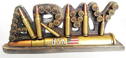 USA Army 12 Gauge Bullets and Shell Figurine Plaque Collectors Home Decor Show Piece Salute the Braves (Army Office)