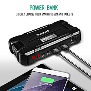 Nekteck Car Jump Starter Portable Power Bank External Battery Charger 500A Peak with 12000mAh - Emergency Jump Pack Auto Jumper for Sedan Van SUV Boat Smartphone USB Device and More