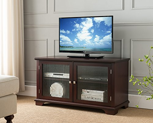 Kings Brand TV Stand Entertainment Center with Frosted Glass Doors, Walnut ()