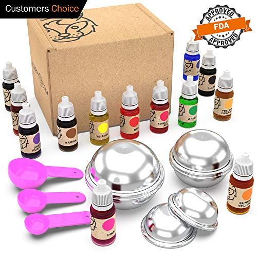 Organic Bath Bomb Coloring for Soap Making Supplies, Skin Safe Coloring Slime Ideal for Crafting Mold and Container, Includes 13 Colors, Molds and Gloves with e-Bonus (ebook); Great DIY Gift Idea
