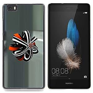 """For Huawei Ascend P8 Lite (Not for Normal P8) Case , Extracto del vidrio Modelo 3D Gris Naranja"""" - Diseño Patrón Teléfono Caso Cubierta Case Bumper Duro Protección Case Cover Funda"""