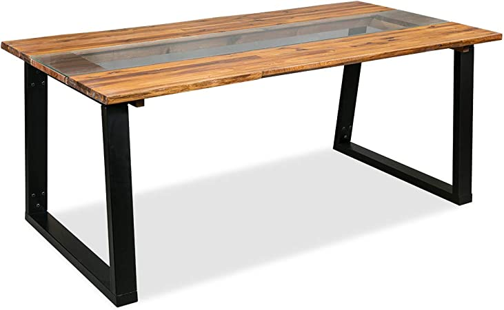 Amazon Com Vidaxl Solid Acacia Wood Dining Table And Glass 70 8