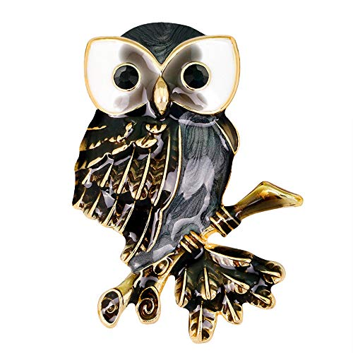 (Stylebar Good Luck Night Owl Brooch Pins with Branch Bird Retro Broaches for Women Girls Black Enamel Brooches Gold Tone )