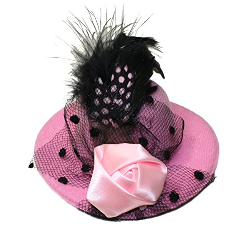 Lucore 4 Inch Mini Top Hat Hair Clip Accessory - Rose, Feather and Mesh Veil Girls Fashion Clipon Miniature Hairpin Headwear (Pink)