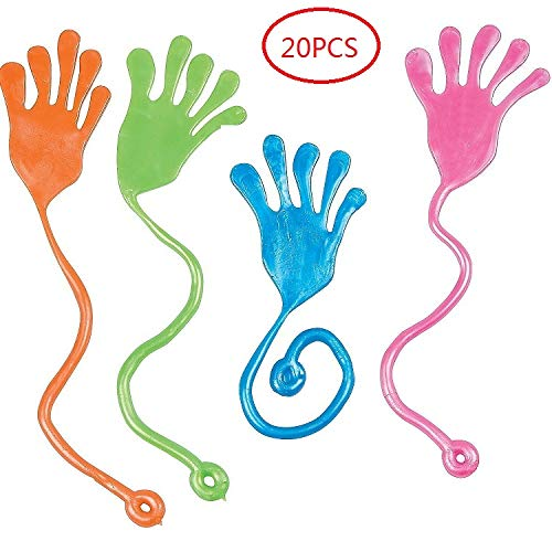 Sticky Hands Toy (20PCS Sticky Fingers,Kids' Party Favor Sets, Fun Toys, Party Favors, Wacky Fun Stretchy Glitter Sticky Hands, Party Favors, Birthday Parties, Toys for Sensory)