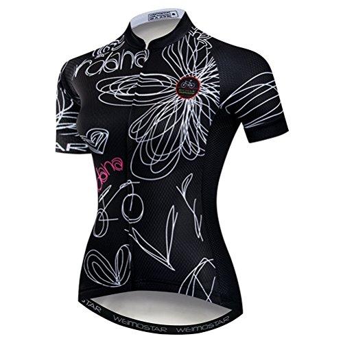 Weimomokey Women s Polyester Short Sleeve Cycling Jersey Bike Tops Biking  Shirt Black M 63a2a2176