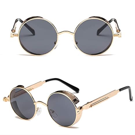 cefa61627 Men Women Steampunk Sunglasses Female Vintage Metal Mirror Lens Sun Glasses  Rose Gold Metal UV400 Lentes