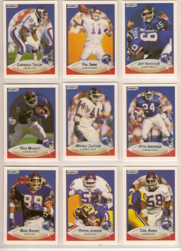 New York Giants 1990 Fleer Football Team Set w/ Update Cards (Super Bowl Champions) (Jeff Hostelter Rookie) (Phil Simms) (Lawerence Taylor) (Ottis Anderson) (Carl Banks) (Mark Bavaro) (Bart Oates) (Carl Banks) (Maurice Carthon) (Pepper Johnson) (Sean Landeta) (Dave Meggett) (Lionel Manuel) (John Elliot) (Gary Reasons) (Lewis Tillman) (Doug Riesnberg) ()