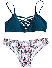 Women's Bathing Suit Adjustable Spaghetti Strap Floral Print Criss Cross Bikini Set