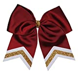 """6 1/2"""" Maroon with White and Old Gold Glitter Tips"""