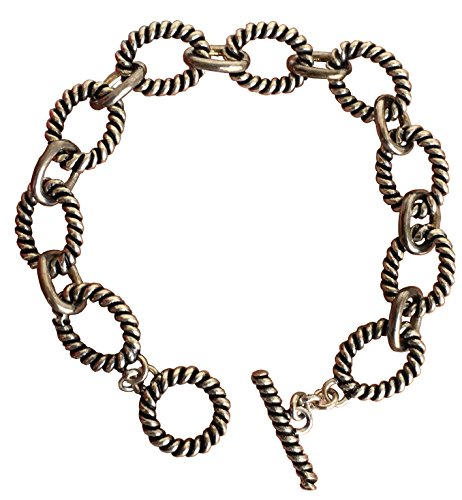 Gempara Designer Inspired 14k White Gold Plated Cable Twisted Chain Link Bracelet Vintage Valentine (Bracelet Length 8 Inches)