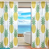 SEULIFE Window Sheer Curtain, Tropical Summer Pineapple Voile Curtain Drapes for Door Kitchen Living Room Bedroom 55x78 inches 2 Panels