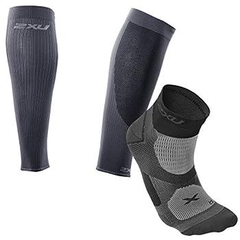 2XU Men's Compression Performance Run Sleeves, Large, Titanium/Black Sleeve & Black/Dark Titanium Sock Training VECTR Sock Bundle