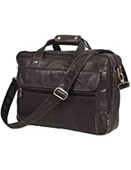 Texbo Mens Black Full Grain Leather Briefcase Messenger Shoulder Laptop Bag