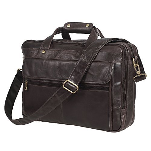 Texbo Men's Geniune Leather Briefcase Messenger Shoulder Laptop Bag Grey by Texbo