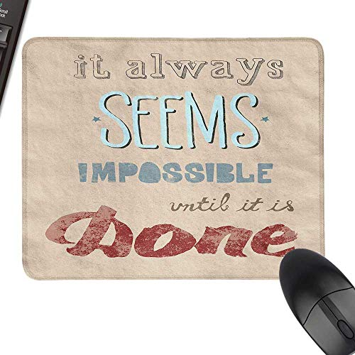 Motivational Thicken Mouse Pad Vintage Display with Wise Words About The Importance of Persistence for Computers, Laptop, Office & Home 35.4