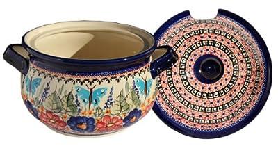 Polish Pottery Soup Tureen with Ladle Zaklady Ceramiczne Boleslawiec 1004/1367-149 Art Signature Pattern, 13.4 Cups