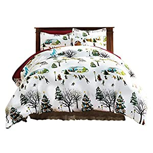 The Paragon Christmas Village Duvet Cover Set – Soft Microfiber Reversible Comforter Cover, Holiday Printed Pattern, Easy-Care Comfortable Duvet Cover with Matching Standard Shams