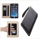 iPad Mini/iPad Air Case,Leather Folio Smart Cover Case Stand with Auto Sleep/Wake Feature, Card Pocket for Apple iPad (Black, For iPad Mini 1/2/3)
