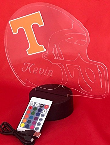 Tennessee Volunteers NCAA College Football Helmet Light Lamp Light Up Table Lamp LED with Remote, Our Newest Feature - It's Wow, with Remote 16 Color Options, Dimmer, Free Engraving, Great Gift
